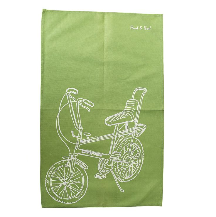 Retro Chopper Tea Towel - Lime Green