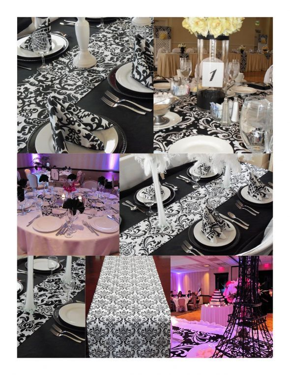 Wedding Black and White Damask Table Runner by exclusiveelements & 73 best Black u0026 White Tablescapes images on Pinterest | Birthdays ...