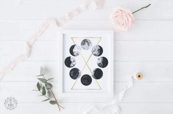 Aquarell Mondphasen druckbare Kunst  Mond Print Galaxy Space