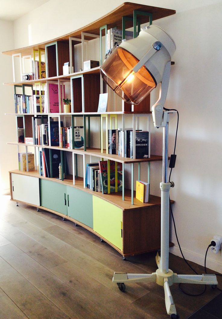 DIY vintage hair dryer lamp + Jo-A bookshelf @JoaDesignedBy