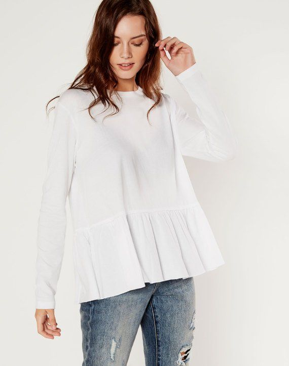 Long Sleeve Peplum Top White