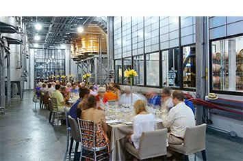 i4c lunches take place in interesting venues including this one in the press alley at Stratus Vineyards.