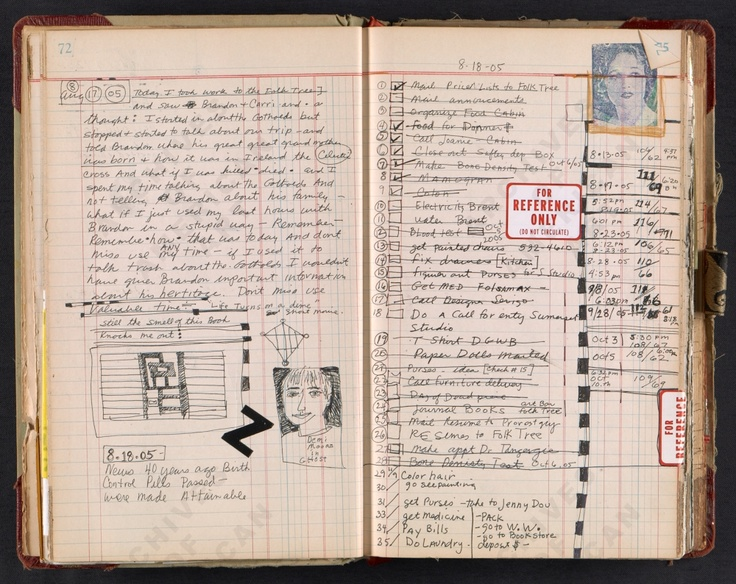 Janice Lowry's Journal., #3   Journal also includes many pages of collage.  From Smithsonian Archives of American Art. (very personal journal.  I feel as though I just sat at her kitchen table and had a coffee with her!)