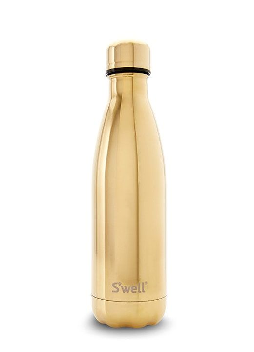 Shining from the cap through the body this premium gold bottle from Swells Metallic Collection has a brilliant reflective luster finish.