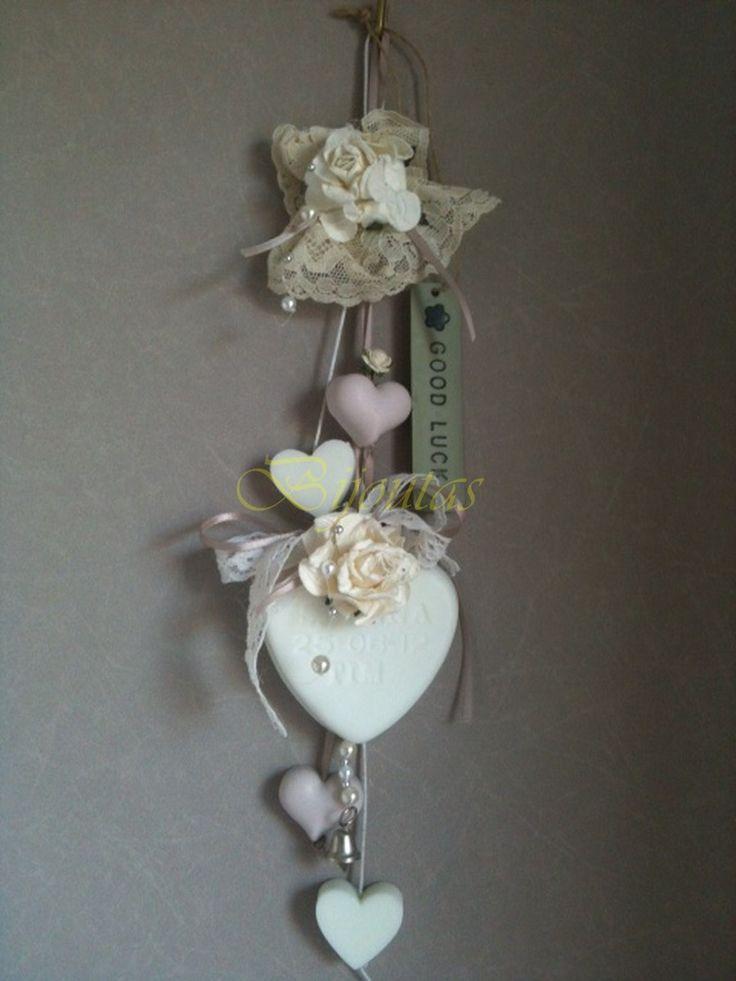 Bruids zeephanger met  bedrukt hart.  Geuren: bruidsbloem, rose en romantique