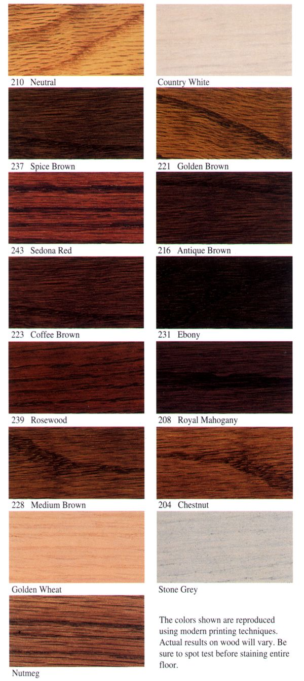 Wood floor stain colors from duraseal by indianapolis for Different colors of hardwood floors