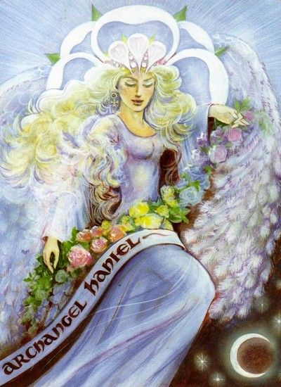 Archangel Haniel from the Aura-Some New Aeon Tarot by Pamela Matthews