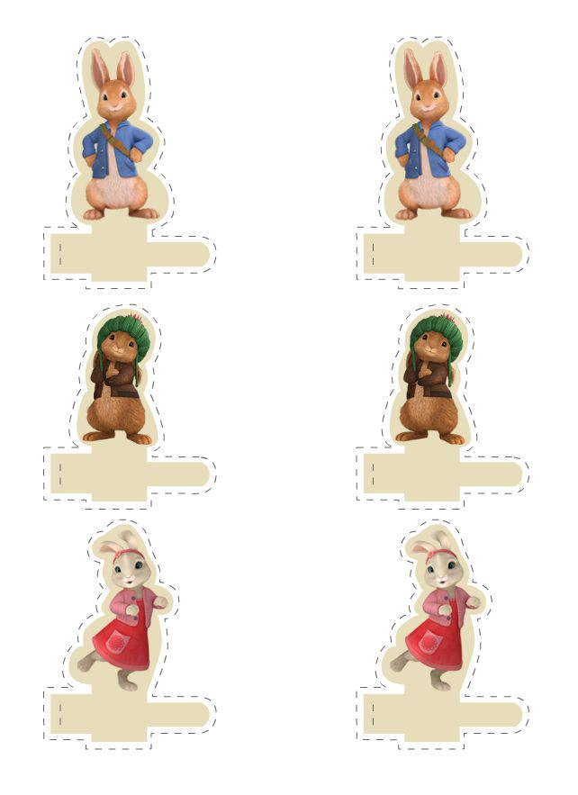 Peter Rabbit printable finger puppets. Cute party favour or table place marker.