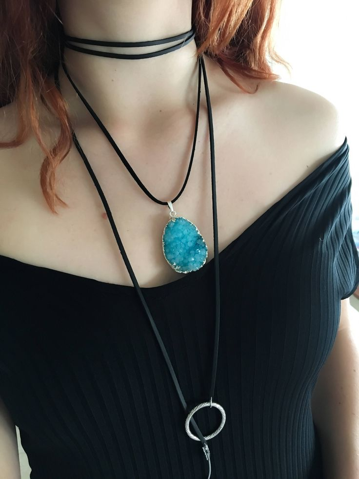 Turquoise druzy necklace, leather y necklace, wrap necklace, turquoise wrap necklace, drusy necklace, double wrap necklace by Moho Boho  Made from turquoise druzy stone and imitation leather cord.  Total length 145cm.  Handmade with love in Italy  Shipping worldwide
