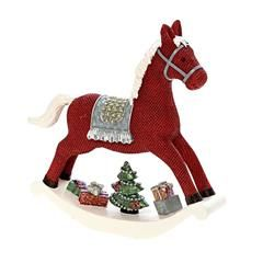 POLYRESIN ROCKING HORSE IN RED COLOR 17X4X18