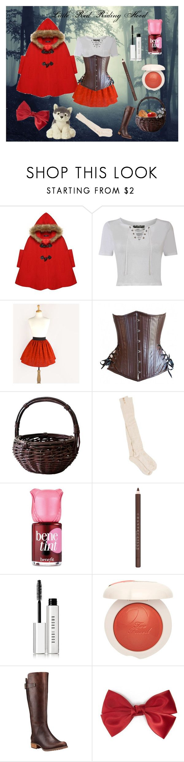 """""""Little Red Riding Hood costume"""" by timeless-trends on Polyvore featuring Pilot, PACT, Benefit, Chantecaille, Bobbi Brown Cosmetics, Timberland and Forever 21"""