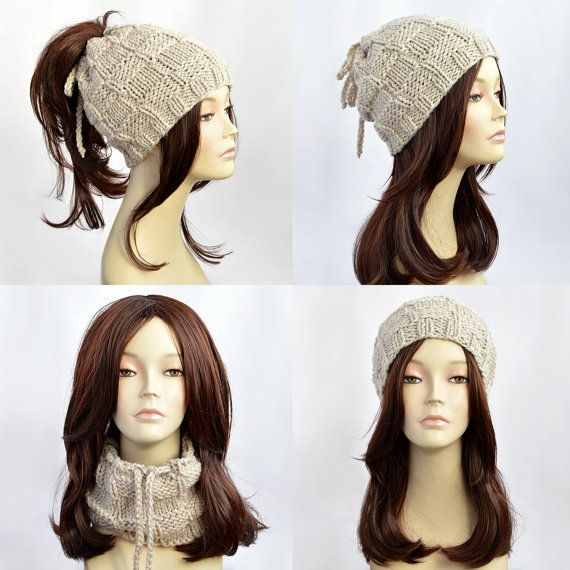 Ponytail Hat Scarf, Ponytail Beanie, Transformer Hat, Hat with Hole, Womens Hat, Knit Hat, Knit Beanie, Bonnet Femme, Womens Beanie