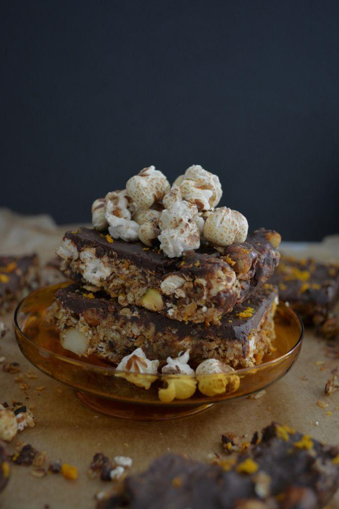 No Bake Popcorn Almond Butter Chocolate Granola Bars