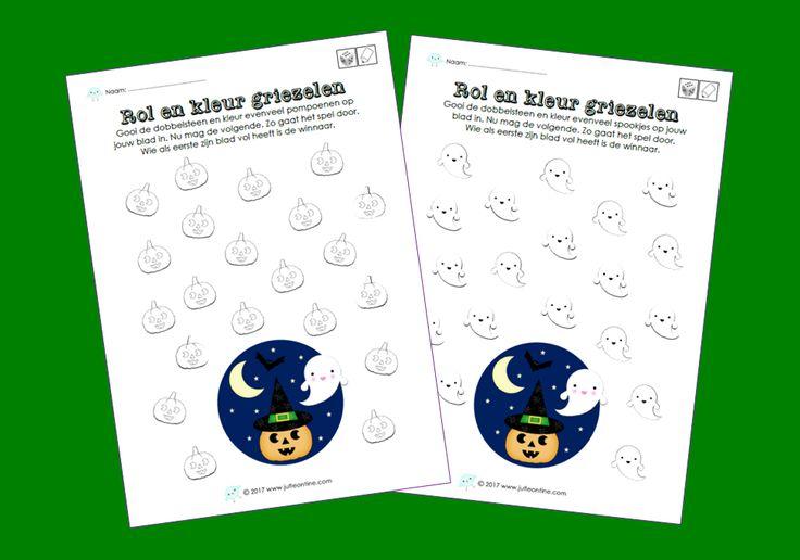 Rol en kleur bij het thema Griezelen voor de kinderboekenweek van 2017. Leuk voor groep 1/2 en aan het begin van groep 3.