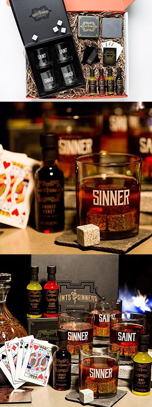 Whiskey Lover's Gift Set: A Thoughtfully Gift Containing Four Glasses in a Custom Box, Whiskey Stones, Slate Coasters, Playing Cards & Cocktail Mixers