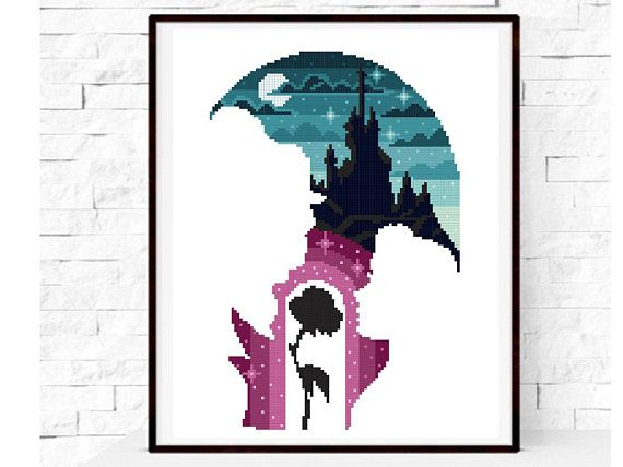 Fairytale Beauty and the Beast modern cross stitch pattern, Castle counted cross stitch chart, fan gift decor DIY, instant PDF