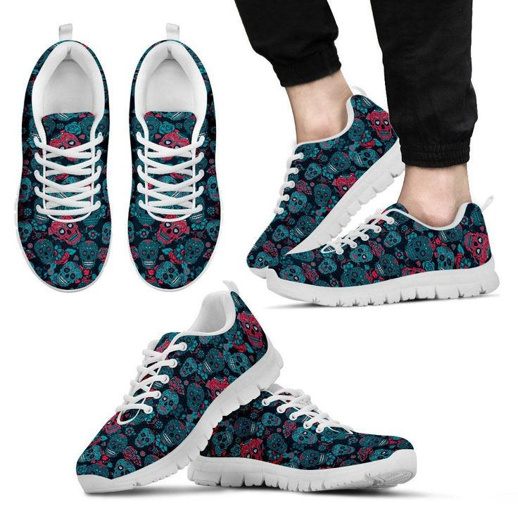 Red And Blue Skull Sneakers - Women's & Men's
