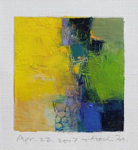 Apr. 22 2017 Original Abstract Oil Painting 9x9 painting