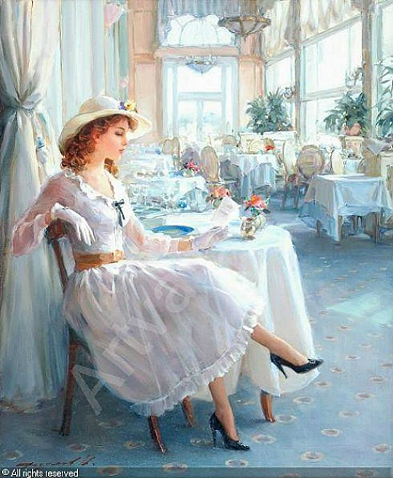 Beautiful Painting by Konstanin Razumov = This actually reminds me of something I from my past, even before I was married. A group of friends & I went to a beautiful Victorian Tea House for brunch. I wore a dress similar to this & the staff told my table mates that I seemed to be from a different time. It was a magical afternoon that I still vividly remember with great fondness.