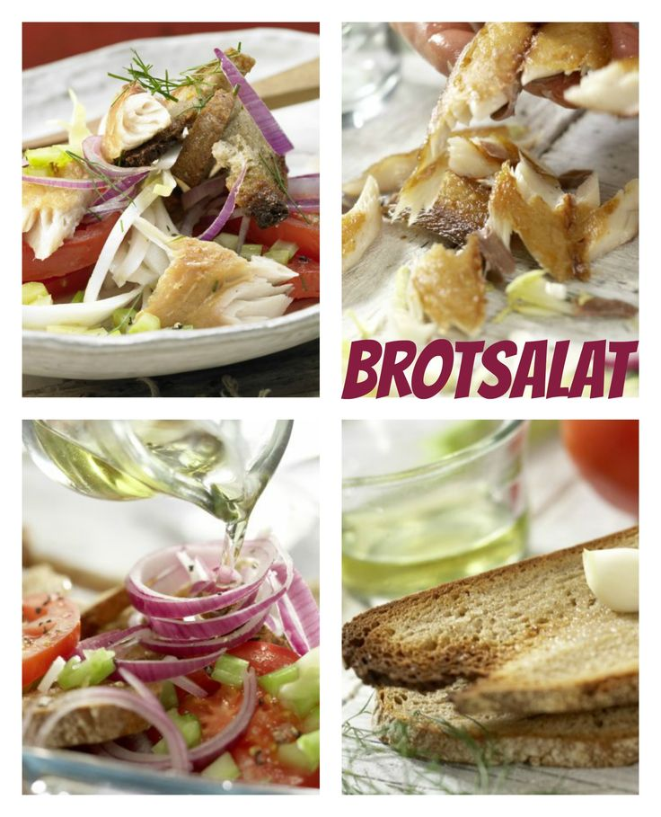 Saftig geräucherter Fisch trifft auf Croûtons: Bornholmer Brotsalat mit Makrelenfilet    http://eatsmarter.de/rezepte/bornholmer-brotsalat
