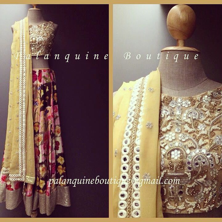 Palanquine Boutique Floral Printed #Lehenga With Yellow Mirror Work #Blouse.