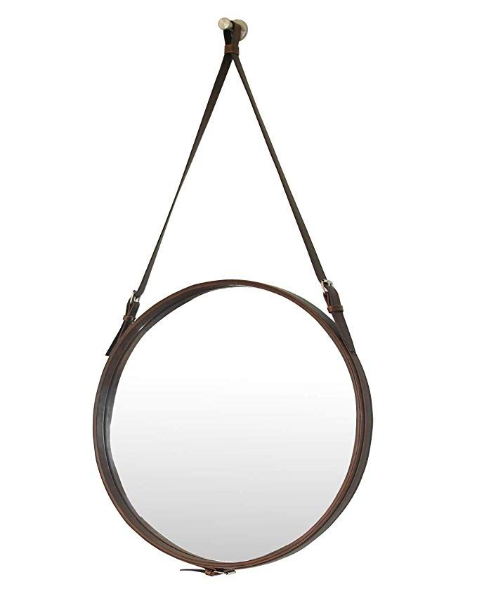 Pu Leather Round Decorative Wall Mirror With Hanging Strap Silver Hardware Hanger Hook Brown 19 7inchs Review Mirror Wall Decor Mirror Mirror Wall