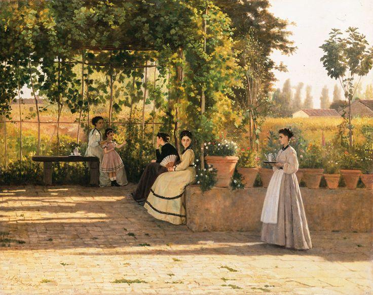 Silvestro Lega - under the pergolato -  1868