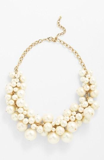 Cutest faux pearl bib necklace for work! It adds elegance to a button-up collared shirt.