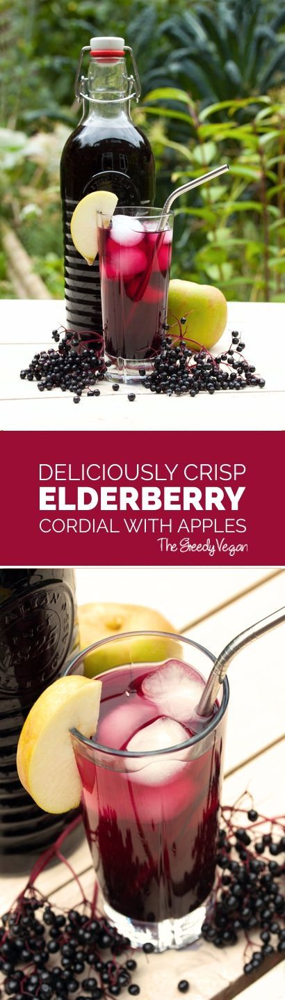 This elderberry cordial uses apples to add a nice, crisp aftertaste to your drink. It is packed with vitamin C and anti-oxidants.  #elderberry