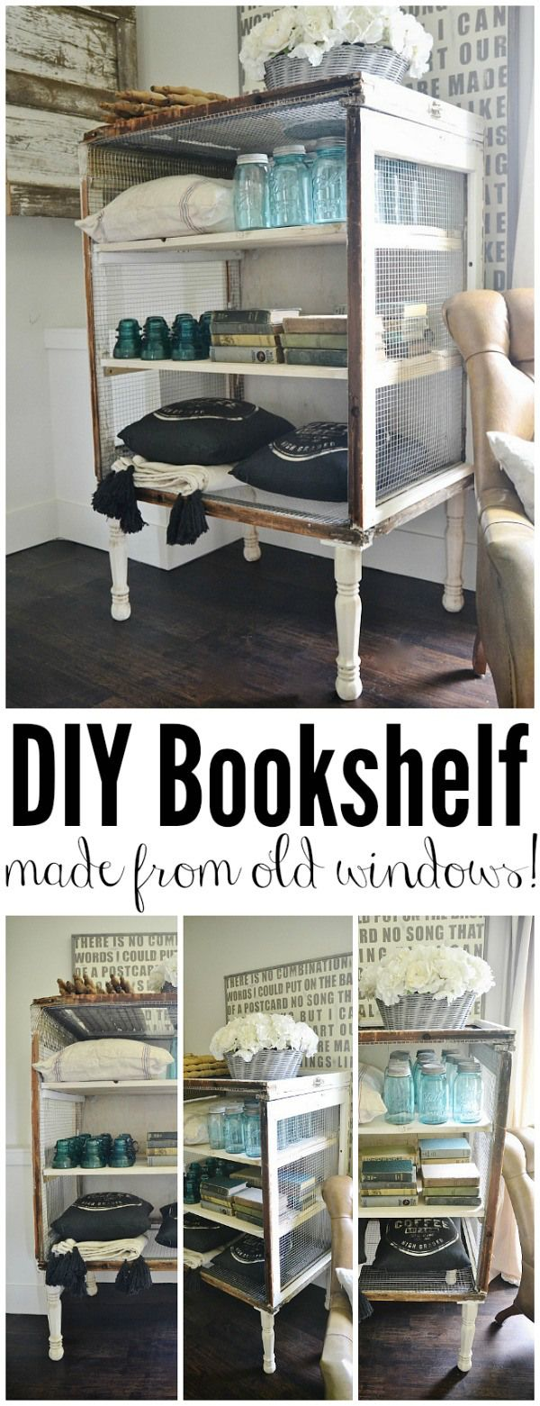 DIY Antique Window Bookshelf- made from old windows & chicken wire! Such a great way to re-purpose old windows!