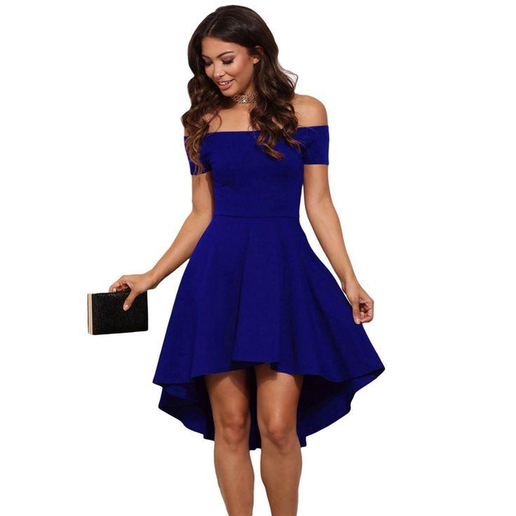 Women Burgundy Blue princess dresses 2018 New summer Off the Shoulder Short Sleeves Knee-length A-Line dress Vestidos