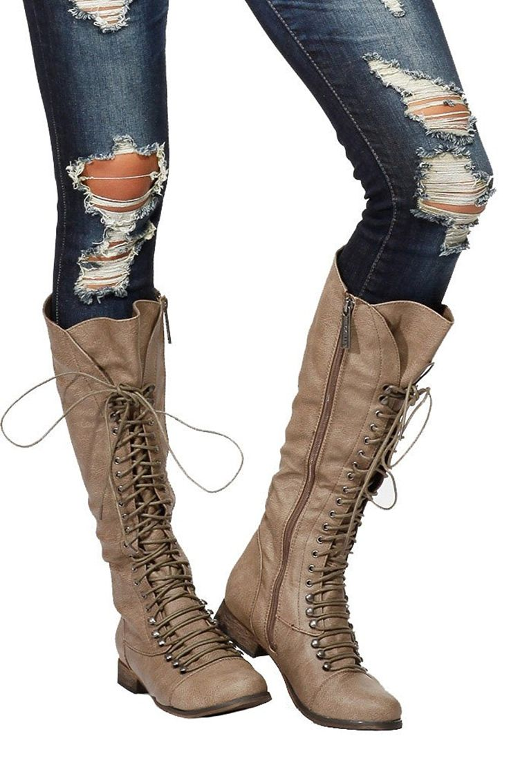 Beige Vegan Leather Toe Cap Lace-Up Knee High Women's Riding Boots *** Learn more by visiting the image link.
