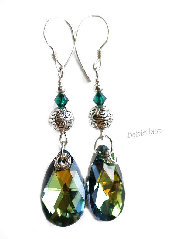 Emerald eye //  emerald sapphire blue and by ILoveIndianSummer, £26.00