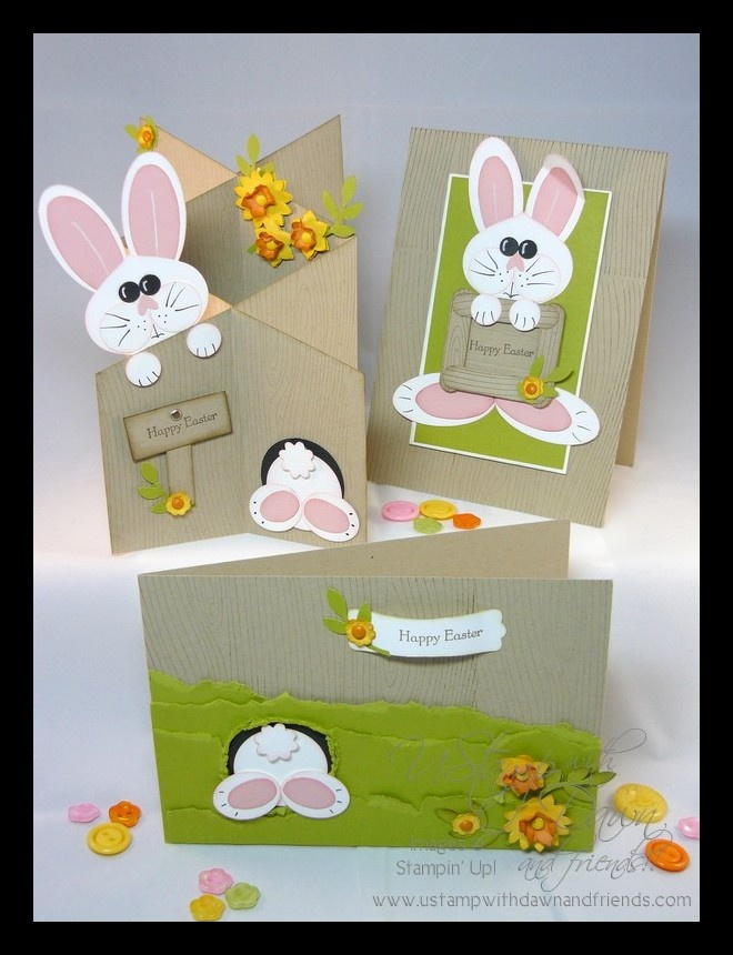 "handmade Easter cards: Hoppy Easter ""Stampin up!""  By:Fiona's Crafting ... cute punch art bunnies on three different cards ..."