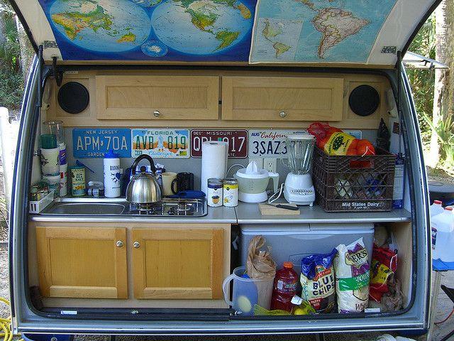 Tab trailer Kitchen - it's in the back like a tear drop.