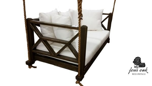 Bet you've never relaxed like this before! The Seaside Bed Swing from Four Oak Designs offers a luxurious way to relax indoors or out of doors on your deck.