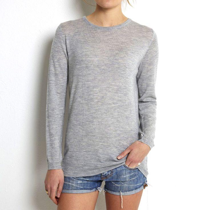 Fine knit light grey cashmere www.wildwool.no