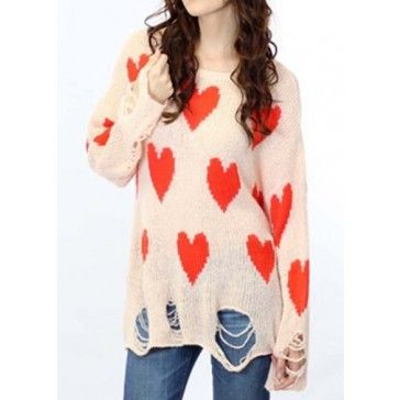 Sweet Heart Print Destroyed Raglan Sheer Sweater for Women - Sweaters & Knits - Clothing - Women's Style Free Shipping