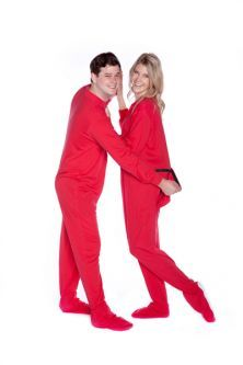 Jersey Knit Adult Footed Pajamas in Red
