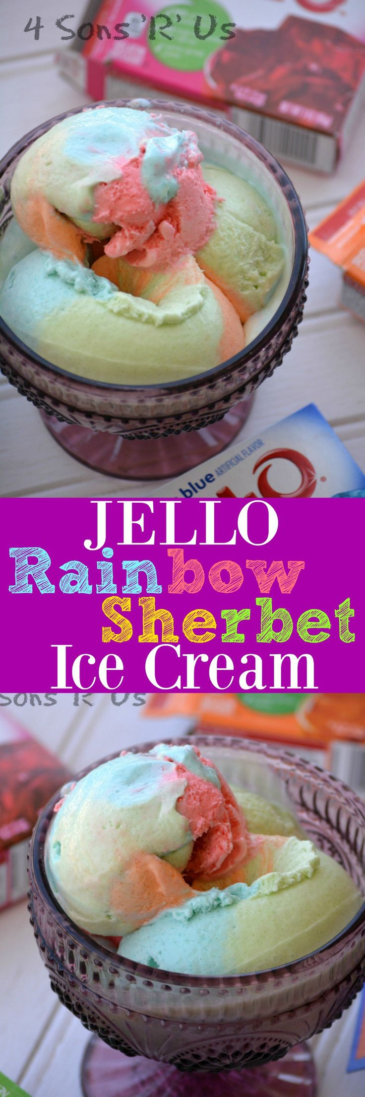 Two ingredients is all you need, and no fancy equipment or ice cream maker's required for this fun, no churn Jello Rainbow Sherbet Ice Cream.