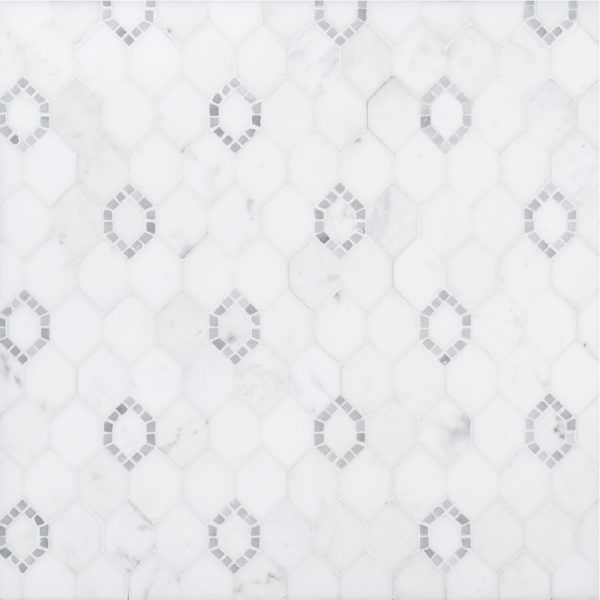 THIS IS IT!! A beige / cream natural stone mosaic grand central tile by Jeffrey Court. It is STUNNING!!! The perfect inlay for the master shower.