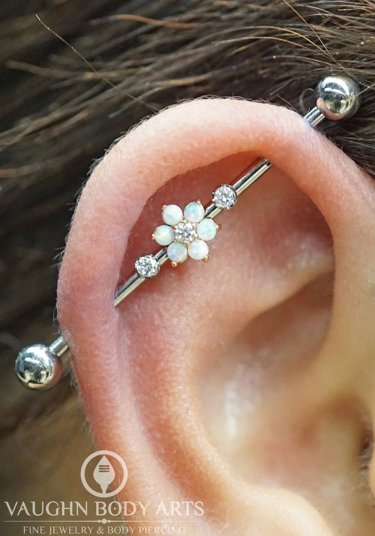Industrial piercings sure have been popular lately. Here's one we got to do fo…