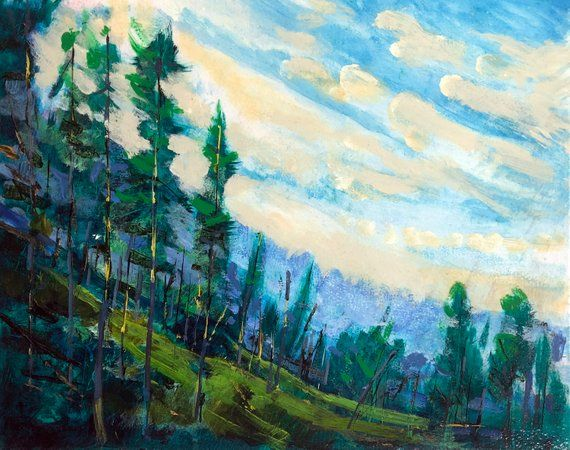 Near Rocky Mountain House Alberta Dennis Weber Shreddystudio Original Acrylic Landscape Painting 16x20 Inches Forest Landscape Art Landscape Paintings Acrylic