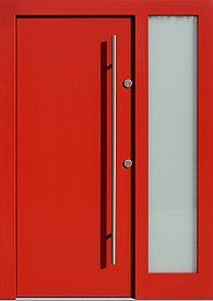 Drzwi zewnętrzne z doświetlem dostawką boczną model  500C w kolorze czerwone