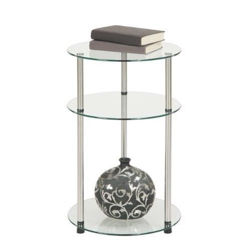 Small Round Side Table Glass Shelf End Accent Nightstand Plant Stand  Bathroom 3T