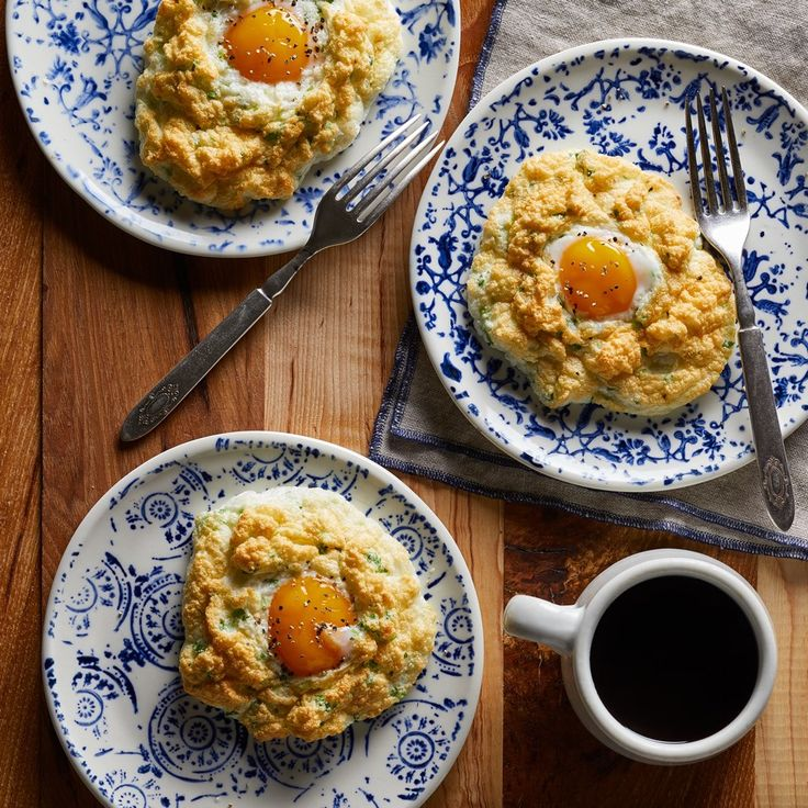 These light and fluffy eggs are loaded with Parmesan and scallions for TONS of flavor, plus there's a perfectly runny yolk on top.