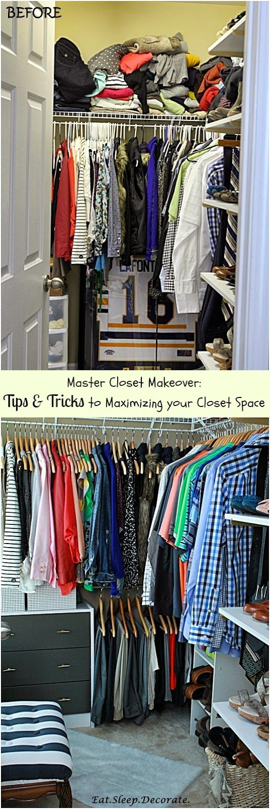 Master Closet Organization- Tips & Tricks on how to maximize closet space! (Before & After)