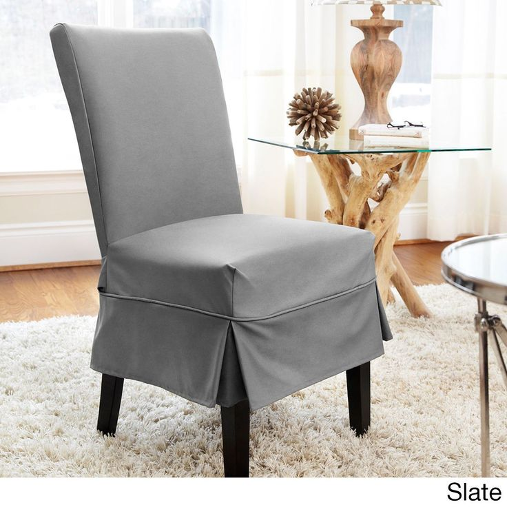 quickcover twill midpleat relaxed fit dining chair slipcover with buttons