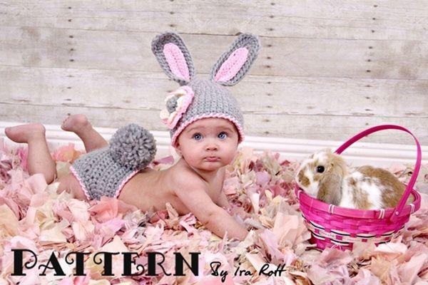 Easter Bunny Rabbit Hat & Diaper Cover Set Crochet PDF Pattern