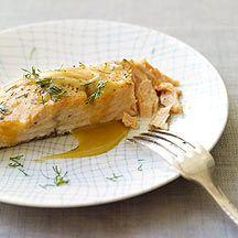 Honey Mustard Roasted Salmon - salmon, salt/pepper, Dijon mustard, honey water, white wine vinegar, dry mustard, garlic powder and dill